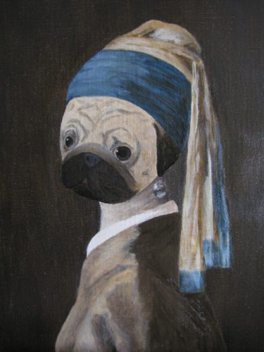 Wombart_Pug with a Pearl Earring