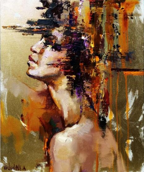 Anastasiya Valiulina-Gold abstract woman portrait