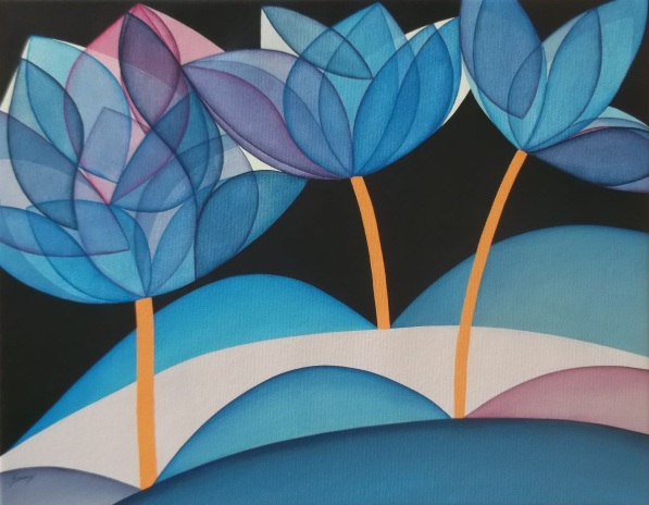Brenda Szuromi-Flowers in blue
