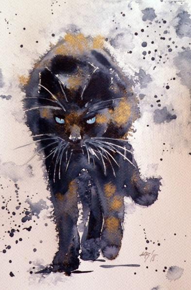 Kovács Anna Brigitta-Black cat in gold
