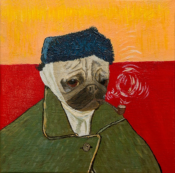 wombart-ustymenko-van-pug-self-portrait-with-bandaged-ear-and-pipe-painting-art-устименко-мопс-портрет-картина