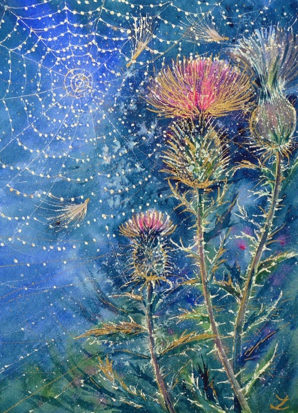 Zaira Dzhaubaeva-Spider Web on the Thistle