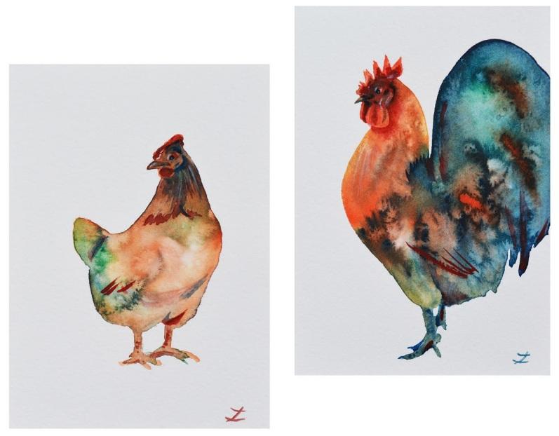 Zaira Dzhaubaeva-Tall Standing Rooster & Hen. Set of two paintings