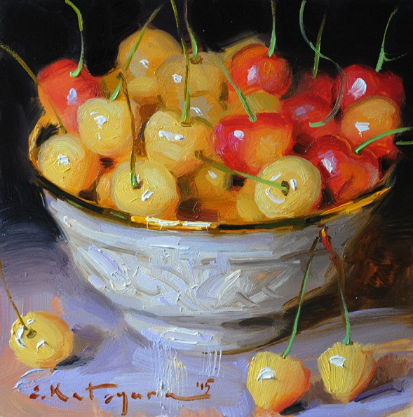ELENA KATSYURA - YELLOW CHERRIES IN A BOWL
