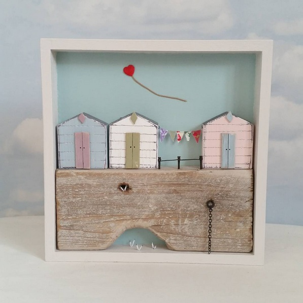 Shabby Daisies-Lost balloon over the beach huts