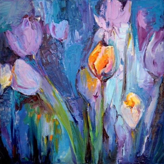 Soos Roxana Gabriela - Blue Tulips Modern Ready to Hang Painting