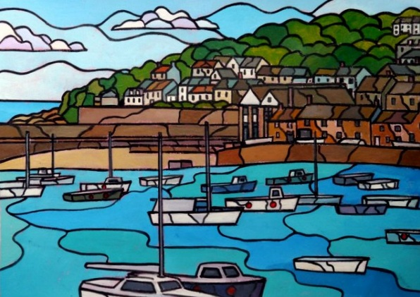 Tim Treagust-Summer day, Mousehole harbour