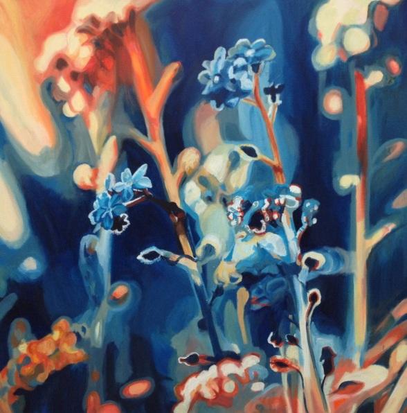Hannah Bruce - Flowers in Atmospheric Blue and Orange