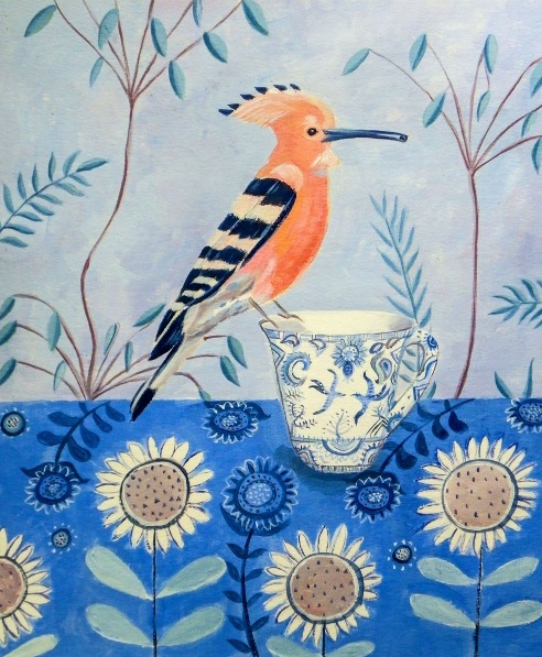 Mary Stubberfield - Hoopoe on a teacup