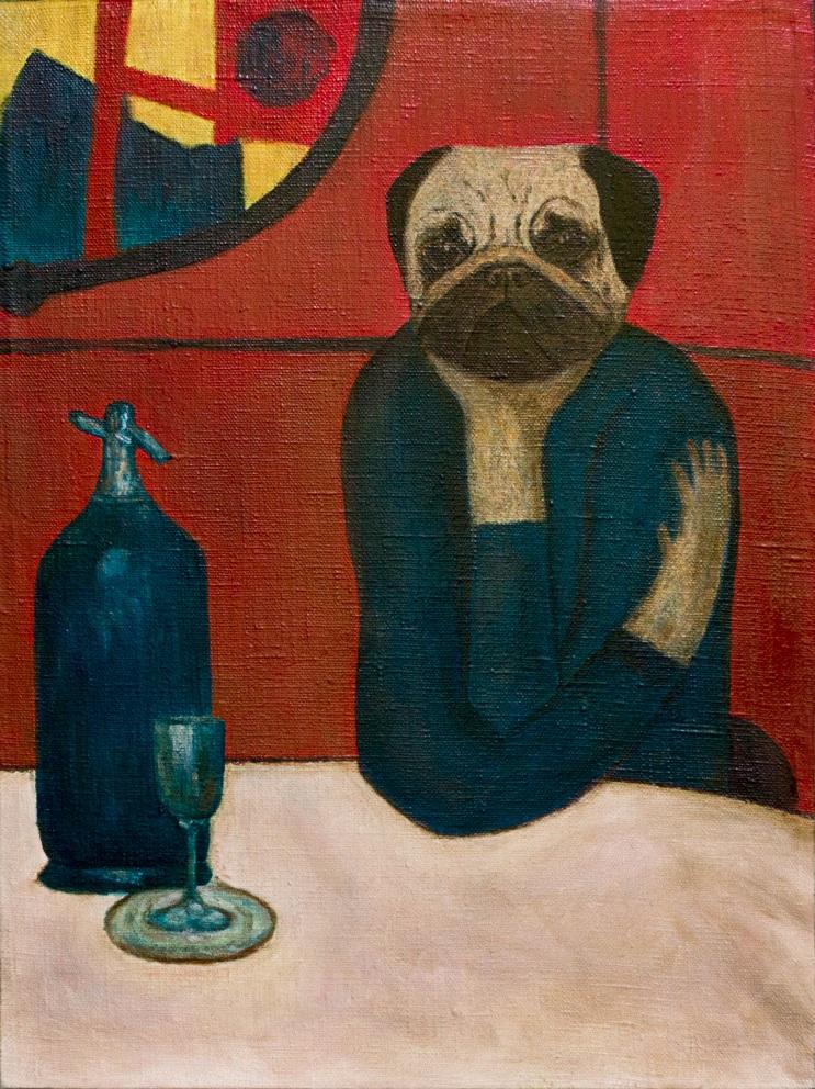 wombart-pugasso-absinth-lover-pug-portrait-art-artwork-painting-устименко-мопс-портрет-картина