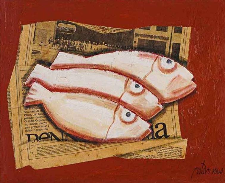 gustavo-rosa-tres-peixes-sobre-jornal