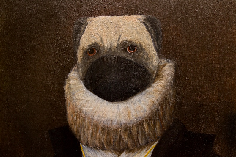 yuliia ustymenko pugbens portrait of lady in waiting to the infanta pugella great pugs art