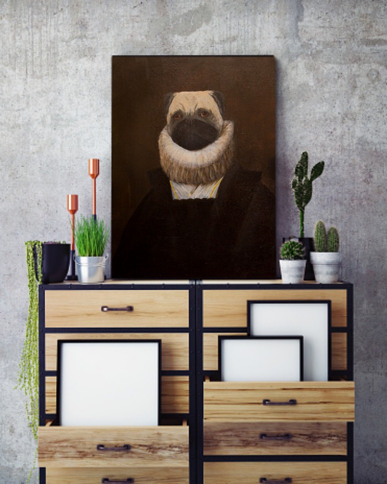 wombart-ustymenko-pugbens-portrait-of-lady-in-waiting-to-the-infanta-pugella-in-a-home-interior-pug-painting-art-artwork-устименко-картина-мопс-портрет
