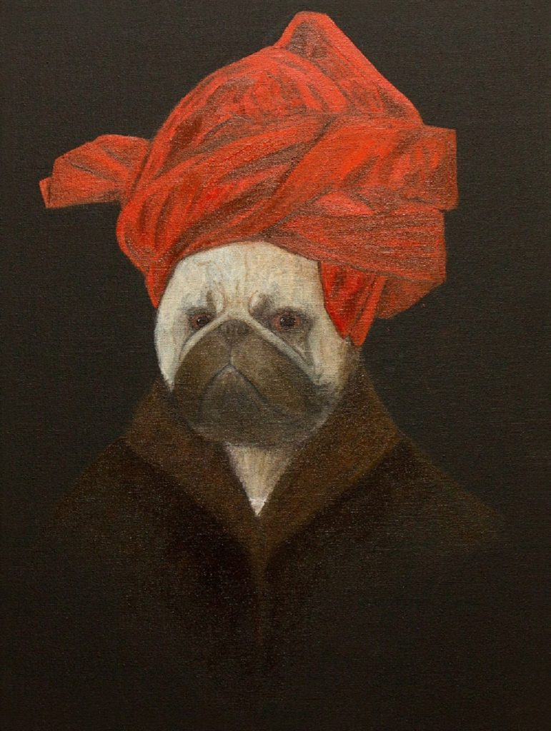 yuliia ustymenko pug van eyck portrait of a pug in a red turban great pug