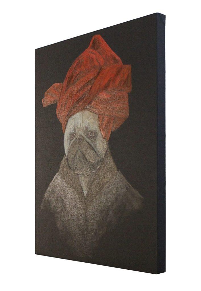 pug-van-eyck-portrait-of-a-pug-in-a-red-turban-side-view-art-artwork-painting-ustymenko