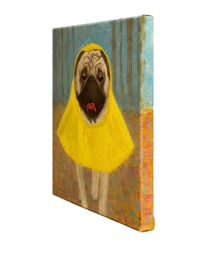 yuliia ustymenko wet but happy pug painting
