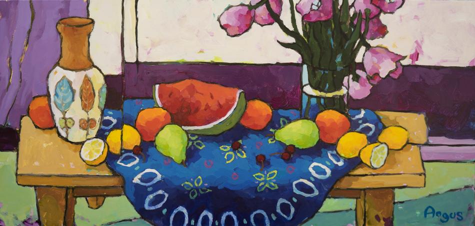 Angus_Wilson_Watermelon_segment_&_fruit_on_blue_cloth