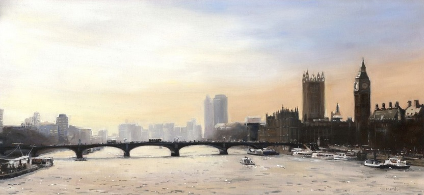 Elaine Marston - Golden sky over Westminster Bridge, London