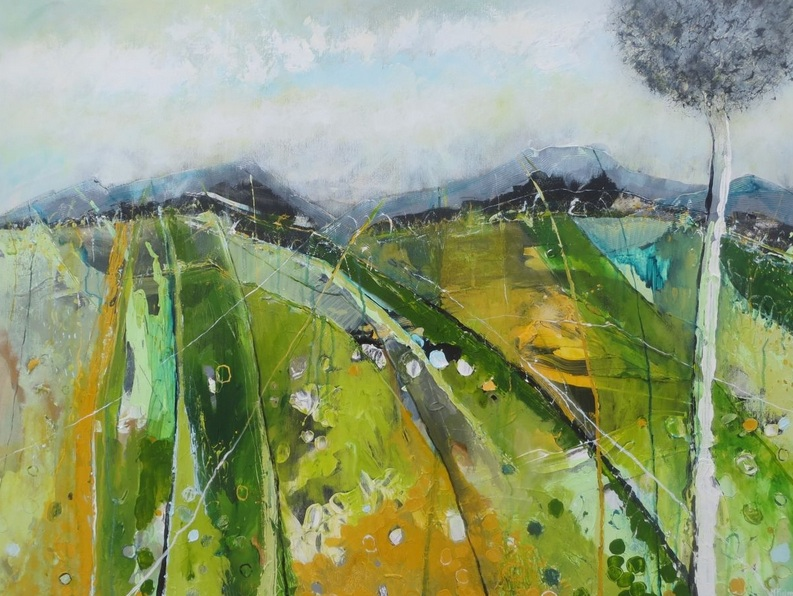 Martina Furlong - A View From The Hill, In Grey And Green