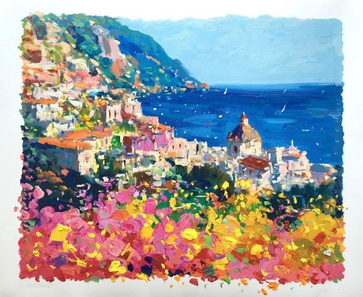 Agostino Veroni - Seascape Positano Artwork, Amalfi Italy