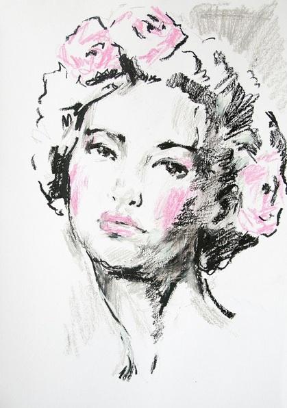 Daria Yablon-Soloviova - Sketch with roses in hair#1