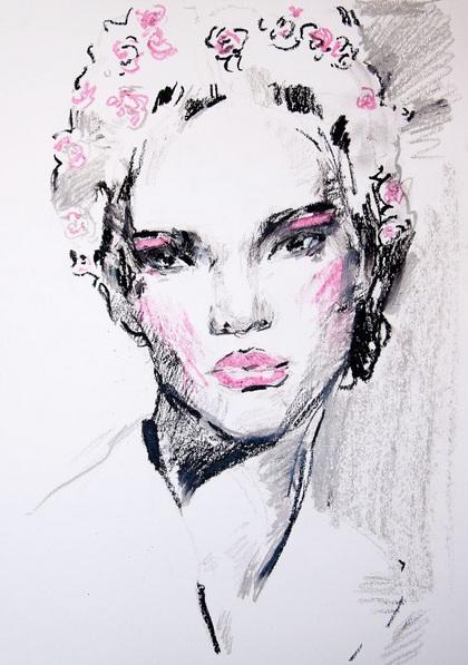 Daria Yablon-Soloviova - Sketch with roses in hair#2