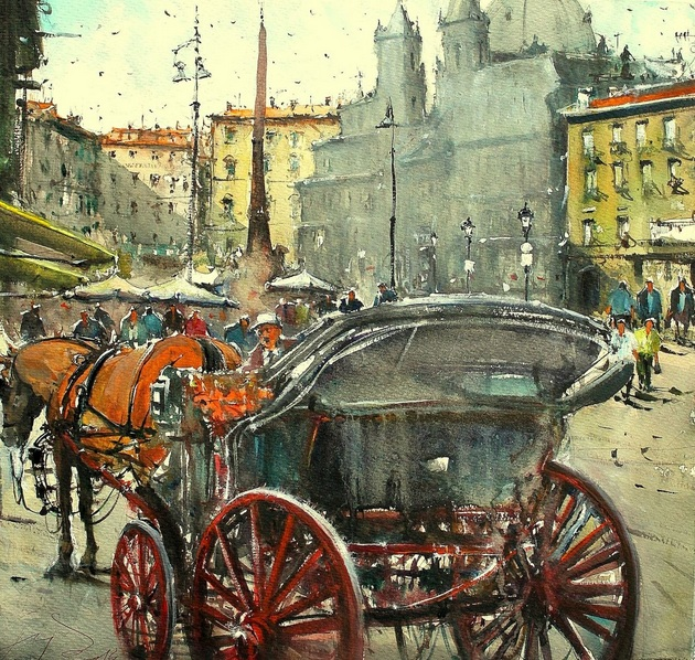 Maximilian Damico - Waiting for next ride in Piazza Navona