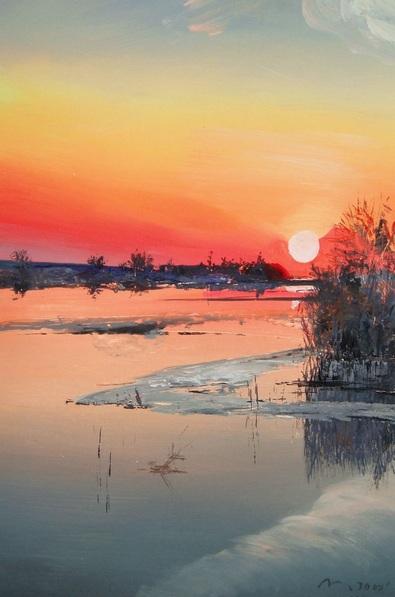 Valeriy Grachov - Sunset on Dnepr River