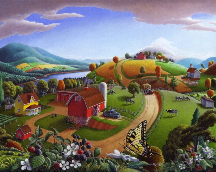 Walt Curlee - Blackberry Patch Rural Landscape