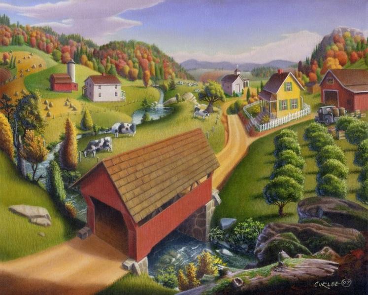 Walt Curlee - Covered Bridge Appalachian Landscape