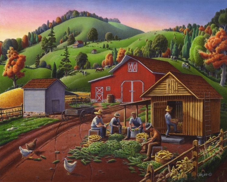 Walt Curlee - Shucking And Storing Corn In The Corncrib