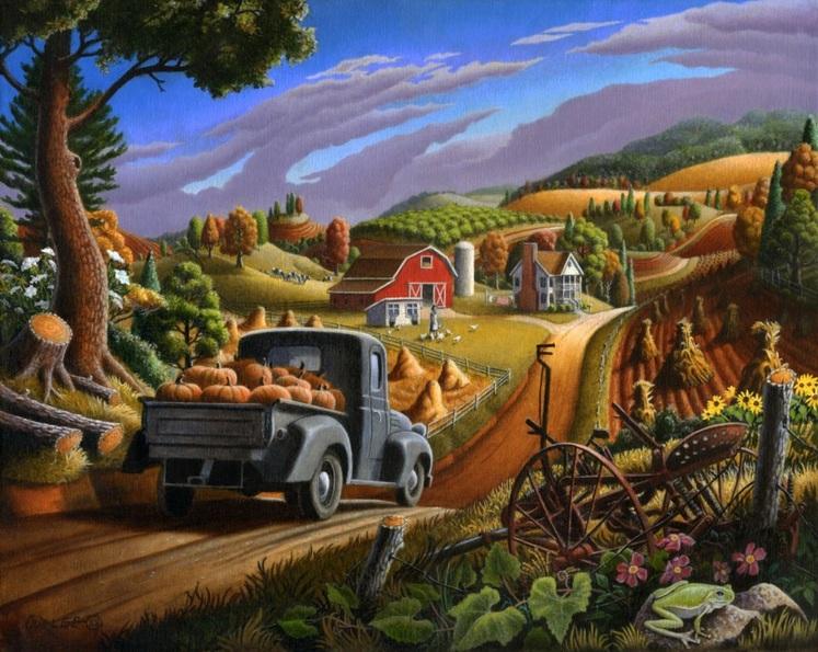 Walt Curlee - Taking Pumpkins To Market farm landscape