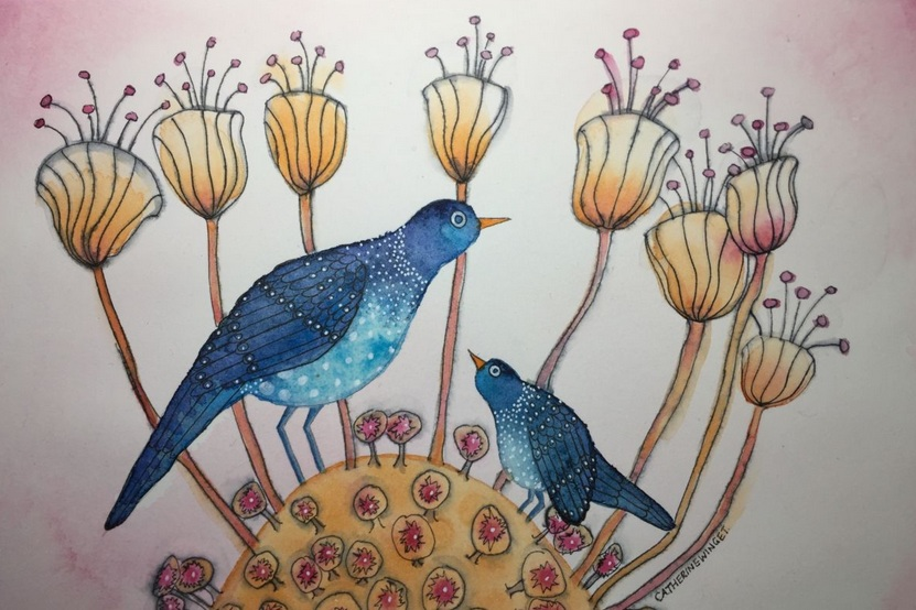 Catherine Winget - Blue Birds in Fantasy Garden