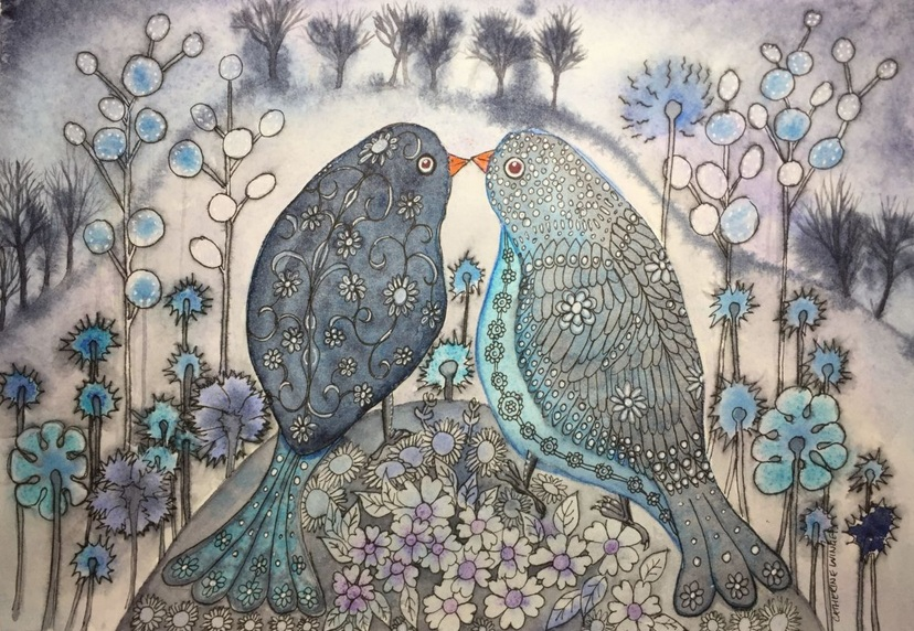 Catherine Winget - Grey Blue Love Birds in Fantasy Garden