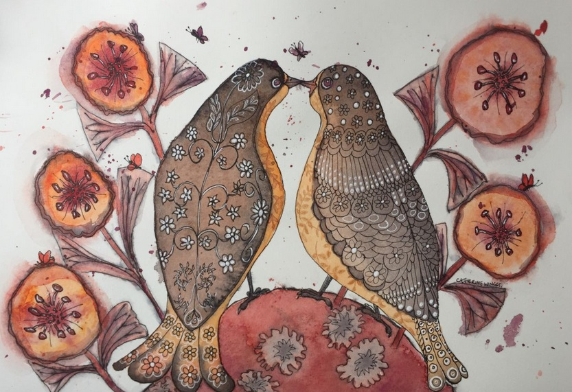 Catherine Winget - Love Birds in Orange and Brown