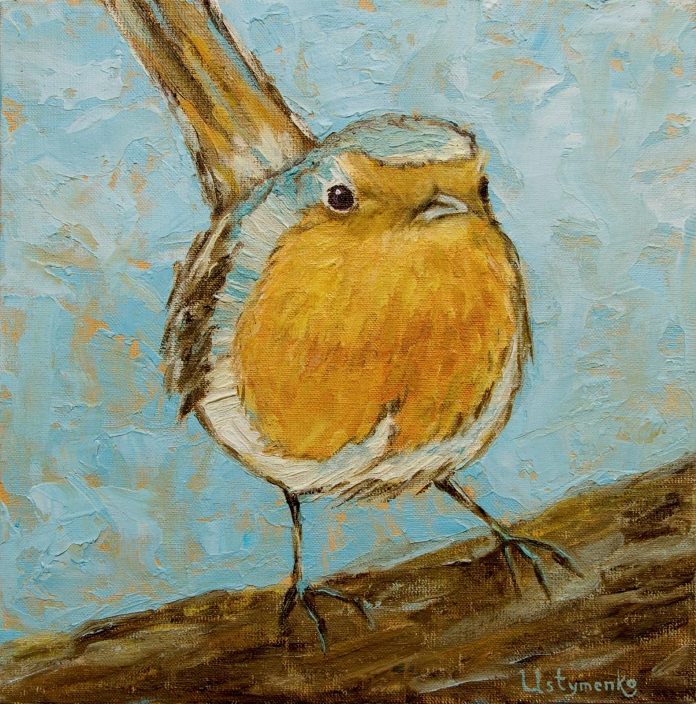 Yuliia Ustymenko - Curious. Bird. Oil painting