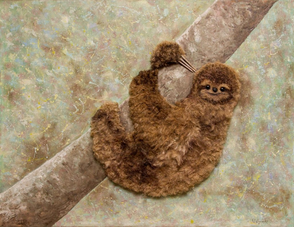 Yuliia Ustymenko - Don't worry, be happy. Sloth. Animal. Painting 3D effect