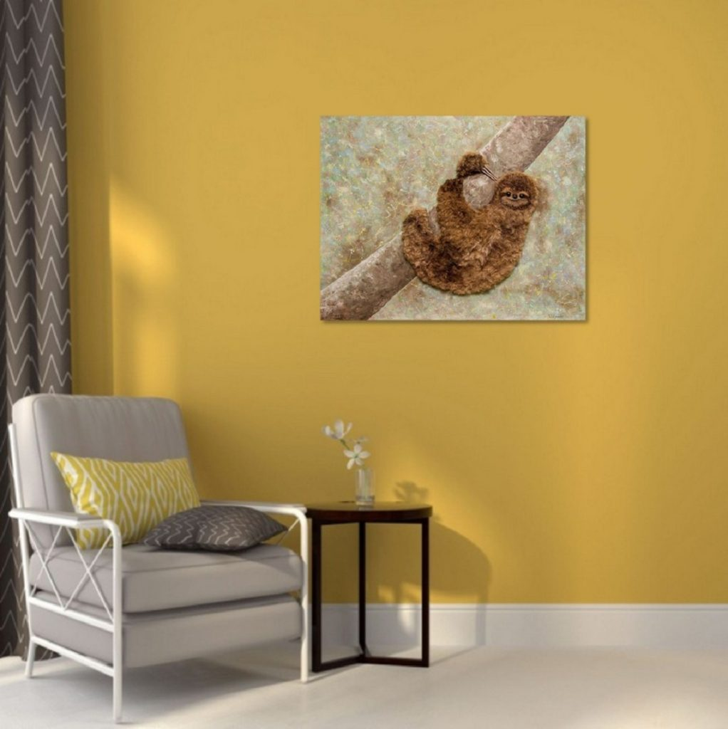 Yuliia Ustymenko - Don't worry, be happy. Sloth. Animal. Painting 3D effect. Interior
