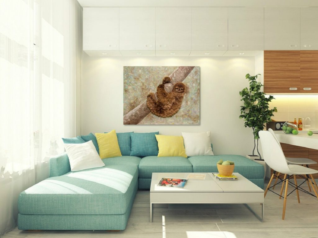 Yuliia Ustymenko - Don't worry, be happy. Sloth. Animal. Painting 3D effect. Interior view