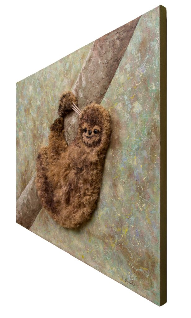 Yuliia Ustymenko - Don't worry, be happy. Sloth. Animal. Painting 3D effect. Side view