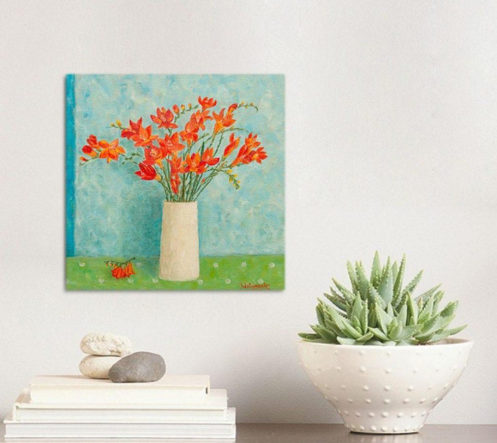 Yuliia Ustymenko - Freesias bouquet. Spring flowers. Oil painting. Home interior