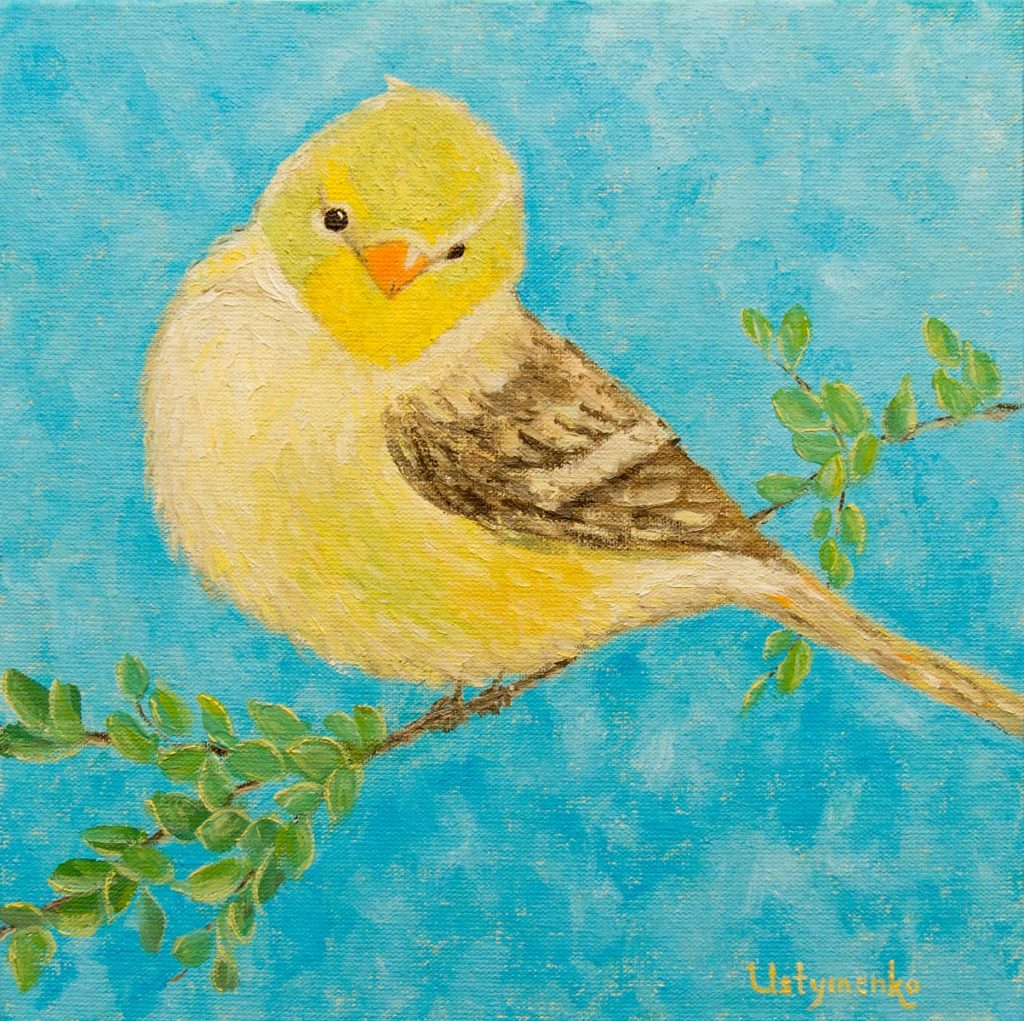 Yuliia Ustymenko - Herald of spring. Bird. Oil painting