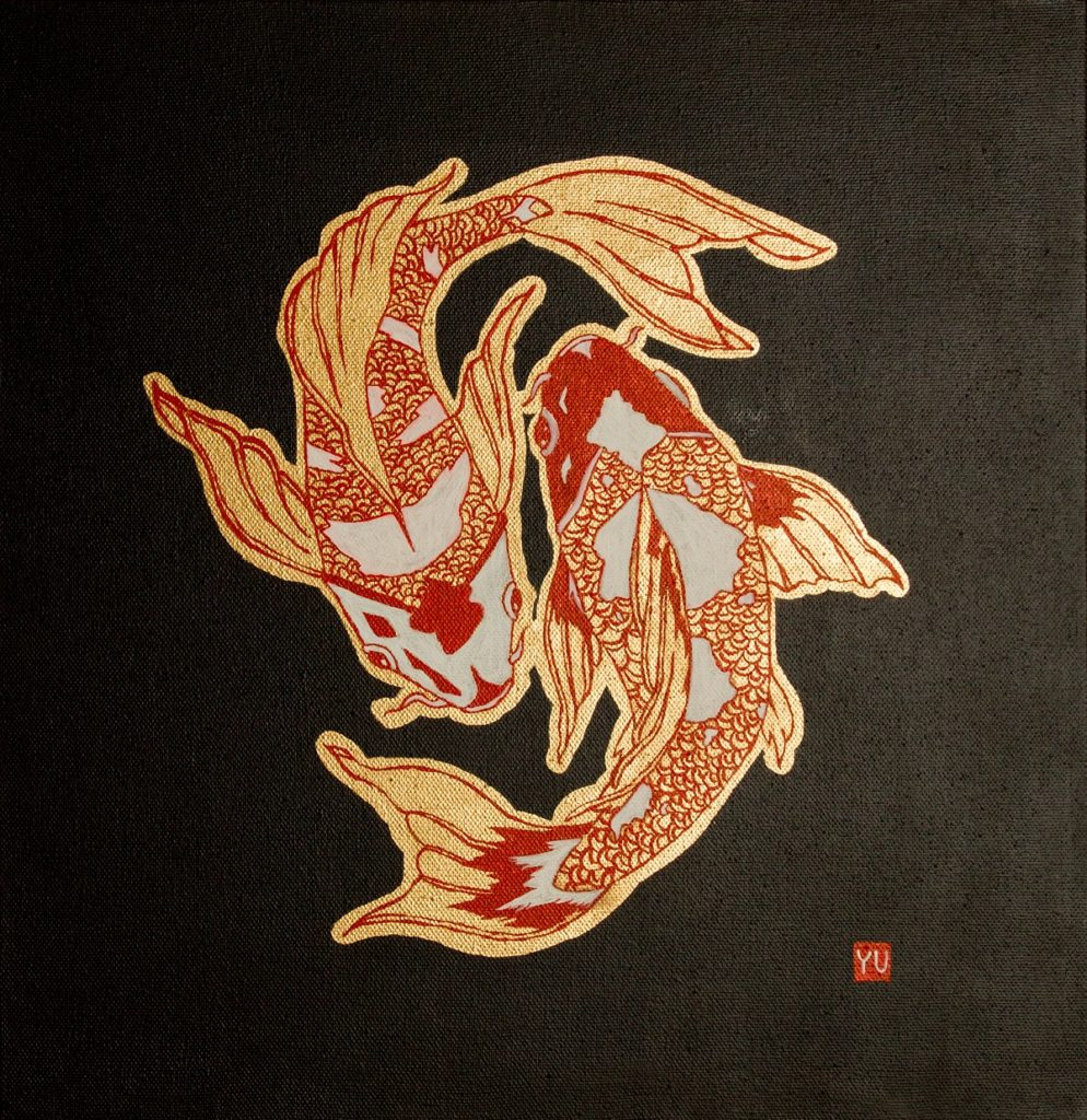 Yuliia Ustymenko - Koi. Gold. Oil painting