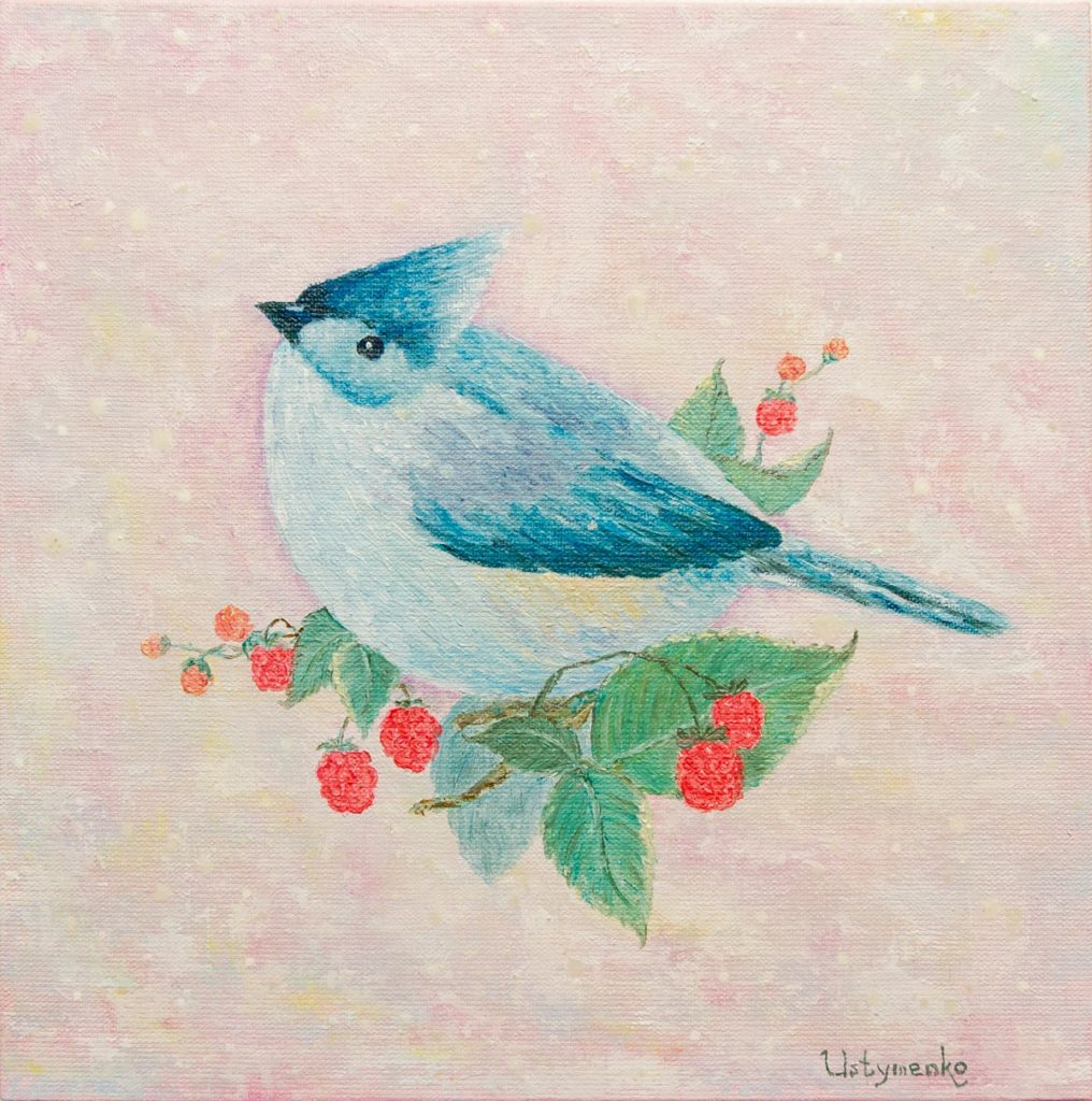 Yuliia Ustymenko - Sweet-tooth. Bird. Blue Cardinal. Oil painting