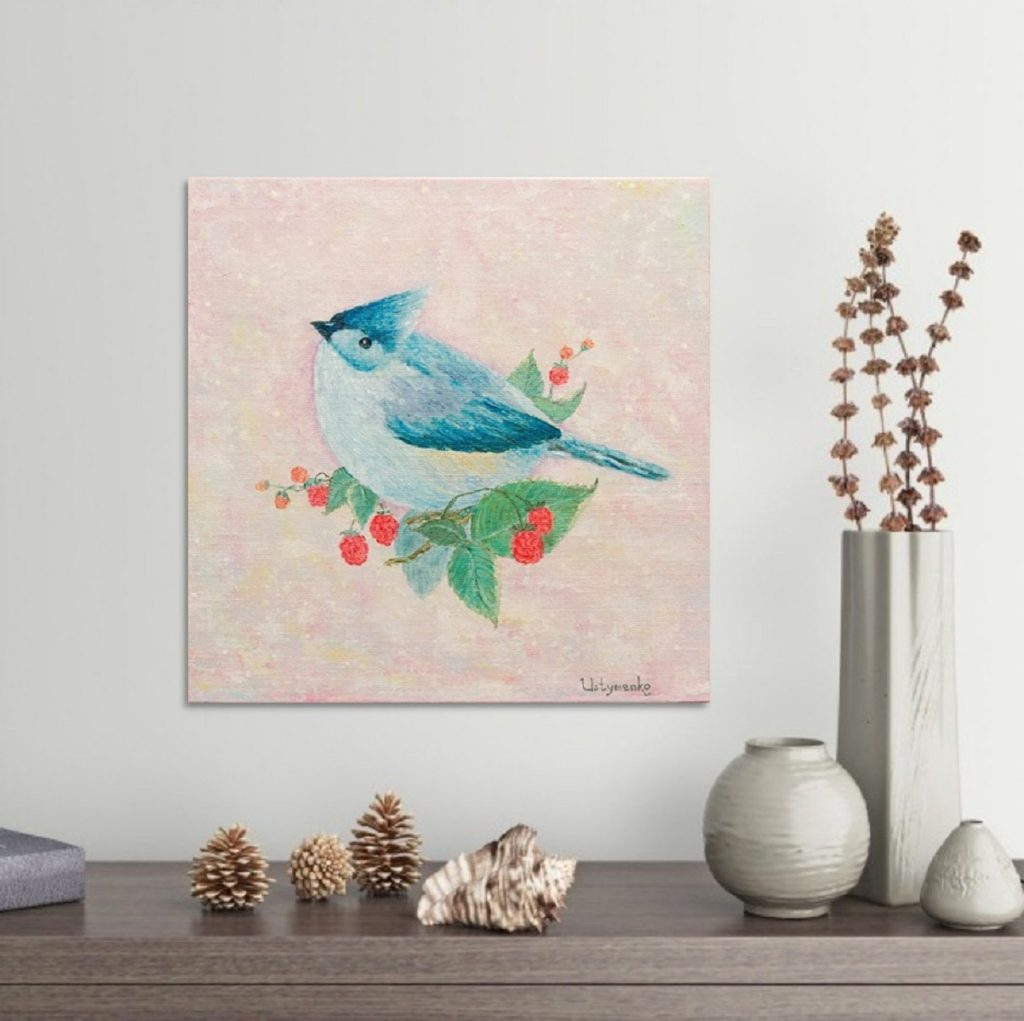 Yuliia Ustymenko - Sweet-tooth. Bird. Blue Cardinal. Oil painting. Interior