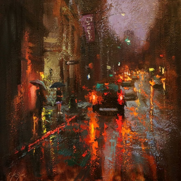Chin H Shin - A Corner of Greenwich Village in Rain