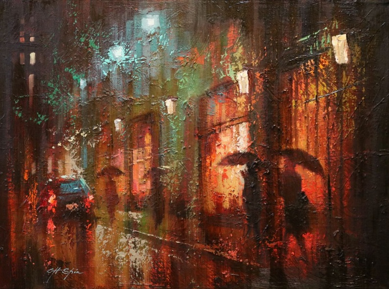 Chin H Shin - Broadway Rain in NY
