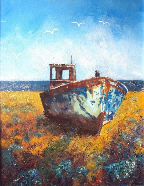 Into Autumn Fields - Fishing boat on beach