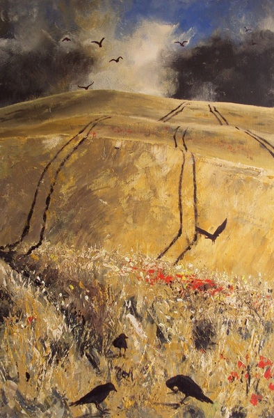 Into Autumn Fields - Storm over Cornfield with Crows