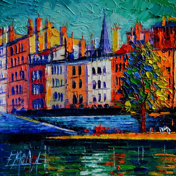 MONA EDULESCO - Colorful waterfront in Lyon France